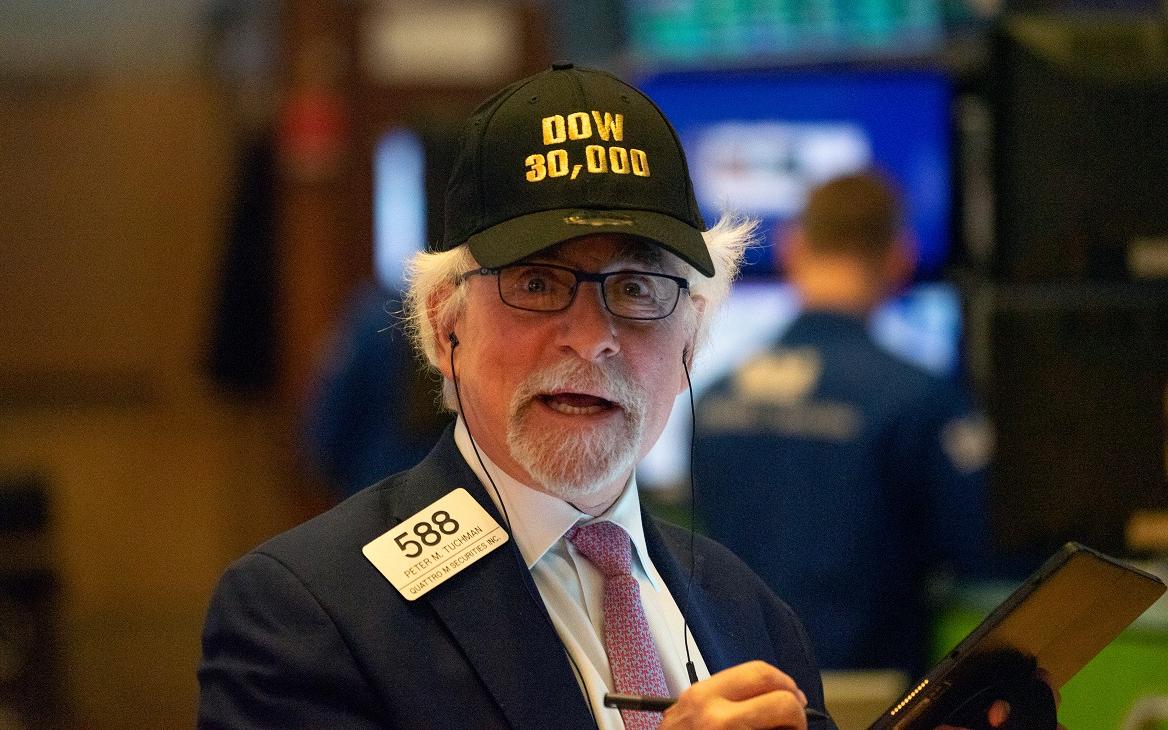 Питер Такмен в торговом зале Нью-Йоркской биржи